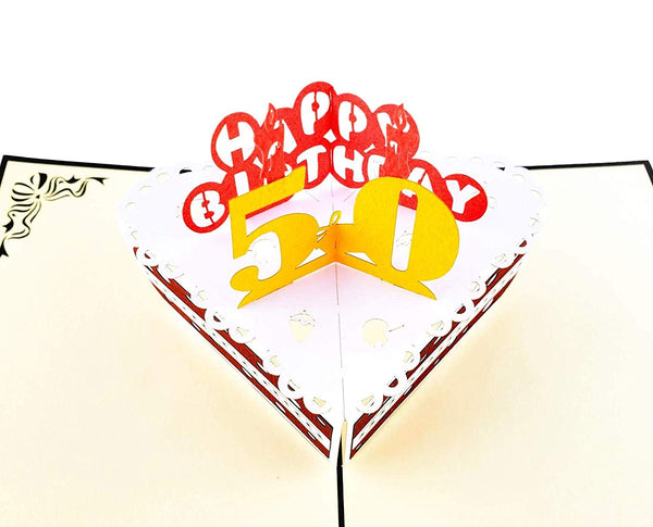 50th Birthday Cake 3D Pop Up Card 5