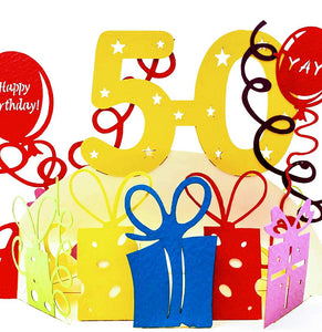 Happy 50th Birthday With Lots of Presents 3D Pop Up Greeting Card 1 front