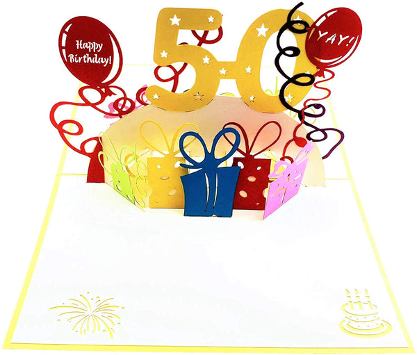 Happy 50th Birthday With Lots of Presents 3D Pop Up Greeting Card 2