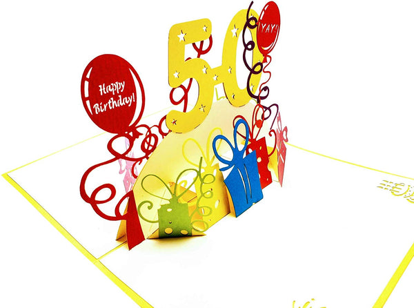 Happy 50th Birthday With Lots of Presents 3D Pop Up Greeting Card 4