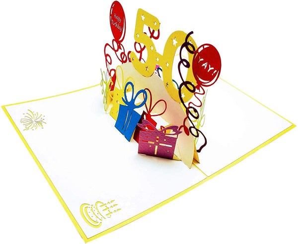 Happy 50th Birthday With Lots of Presents 3D Pop Up Greeting Card 5