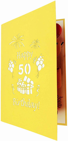 Happy 50th Birthday With Lots of Presents 3D Pop Up Greeting Card 7