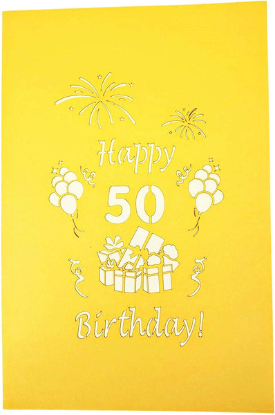 Happy 50th Birthday With Lots of Presents 3D Pop Up Greeting Card 8
