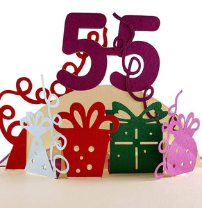 Happy 55th Birthday With Lots of Presents 3D Pop Up Greeting Card 1 front