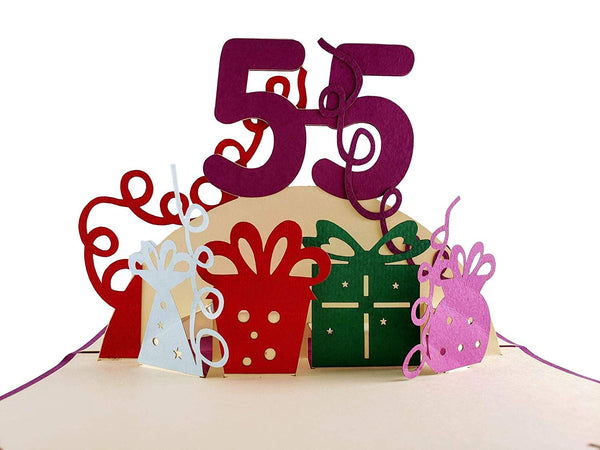 Happy 55th Birthday With Lots of Presents 3D Pop Up Greeting Card 1