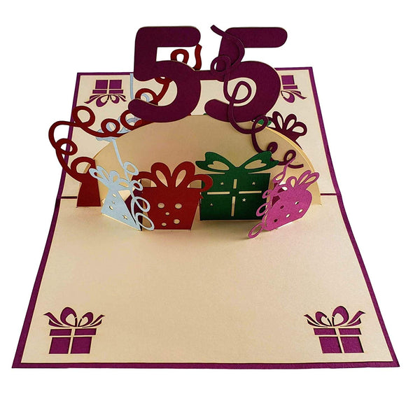 Happy 55th Birthday With Lots of Presents 3D Pop Up Greeting Card 2