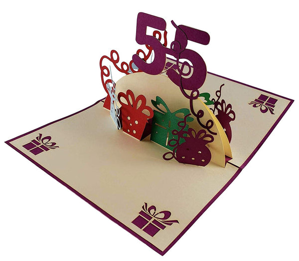 Happy 55th Birthday With Lots of Presents 3D Pop Up Greeting Card 3