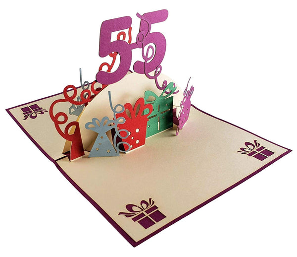 Happy 55th Birthday With Lots of Presents 3D Pop Up Greeting Card 4
