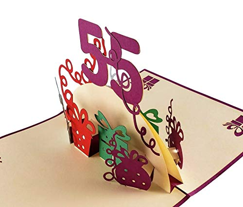 Happy 55th Birthday With Lots of Presents 3D Pop Up Greeting Card 5