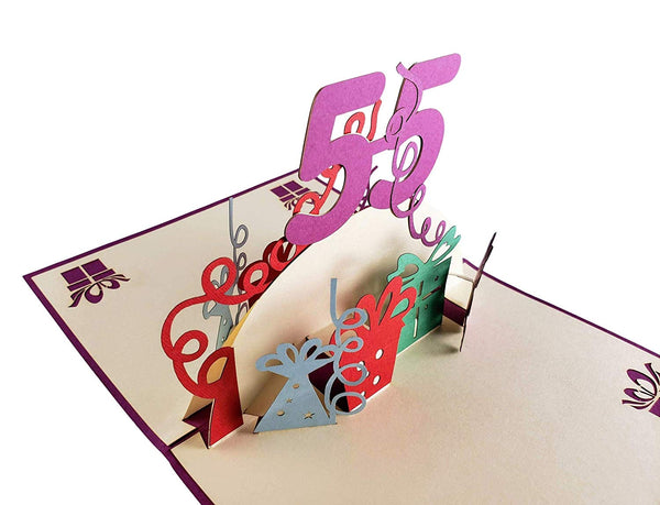 Happy 55th Birthday With Lots of Presents 3D Pop Up Greeting Card 6