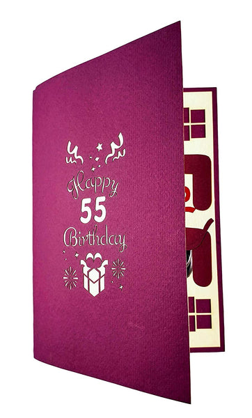 Happy 55th Birthday With Lots of Presents 3D Pop Up Greeting Card 7