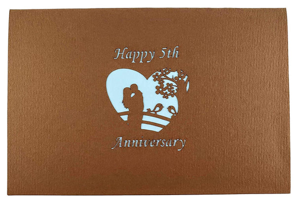 Happy 5th Anniversary 3D Pop Up Greeting Card 8
