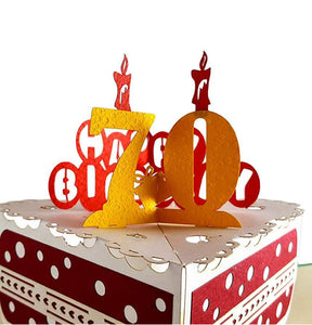 Happy 70th Birthday Cake 3D Pop Up Card 1 front