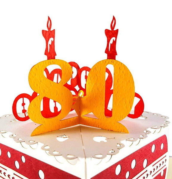 Happy 80th Birthday Cake 3D Pop Up Card 1 front
