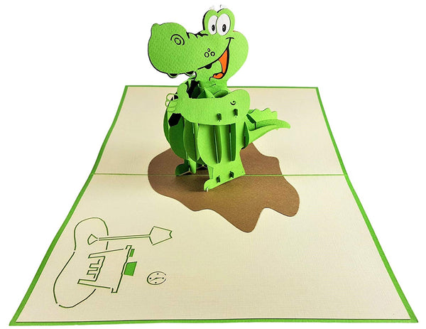 Happy Alligator 3D Pop Up Greeting Card 3