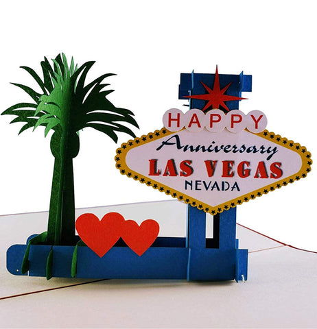 Happy Anniversary Las Vegas 3D Pop Up Greeting Card 1 front