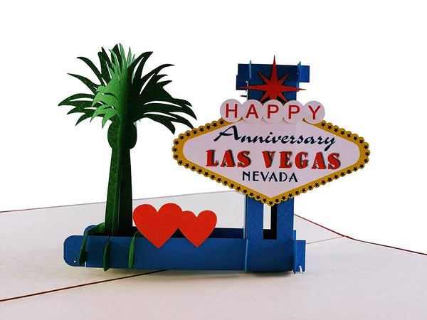 Happy Anniversary Las Vegas 3D Pop Up Greeting Card 1