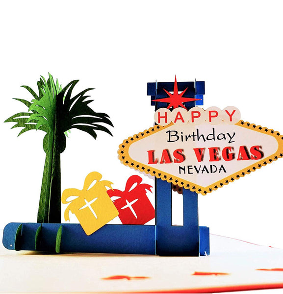 Happy Birthday Red Cover Las Vegas 3D Pop Up Greeting Card 1 front