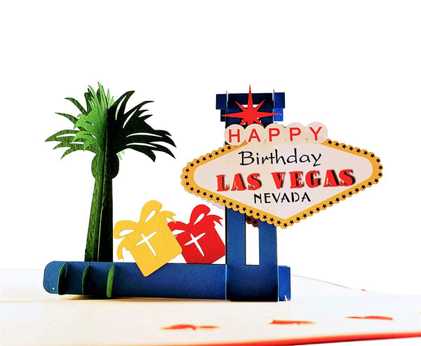 Happy Birthday Red Cover Las Vegas 3D Pop Up Greeting Card 1