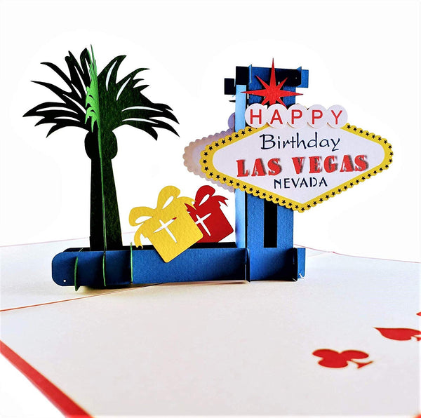 Happy Birthday Red Cover Las Vegas 3D Pop Up Greeting Card 5