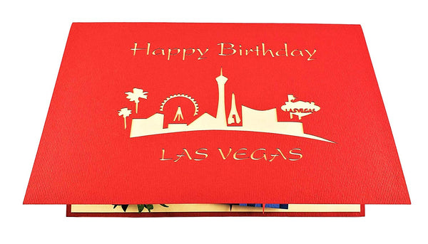 Happy Birthday Red Cover Las Vegas 3D Pop Up Greeting Card 7