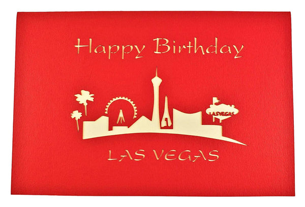 Happy Birthday Red Cover Las Vegas 3D Pop Up Greeting Card 8