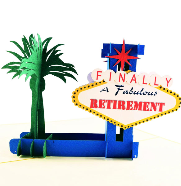 Happy Retirement Las Vegas 3D Pop Up Greeting Card 1 front