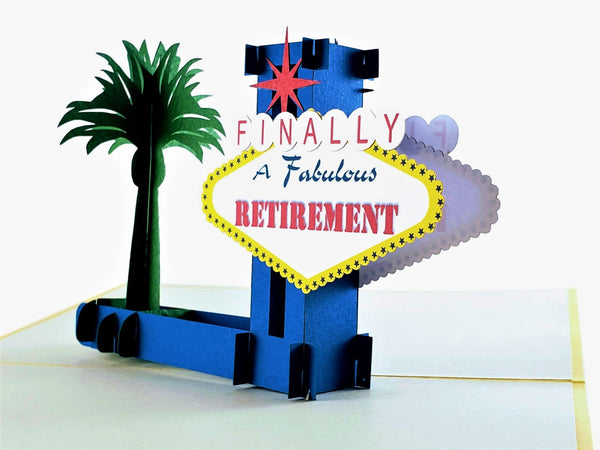 Happy Retirement Las Vegas 3D Pop Up Greeting Card 3