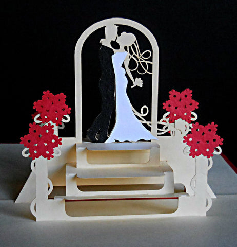 Happy Wedding III 3D Pop Up Greeting Card 1 front