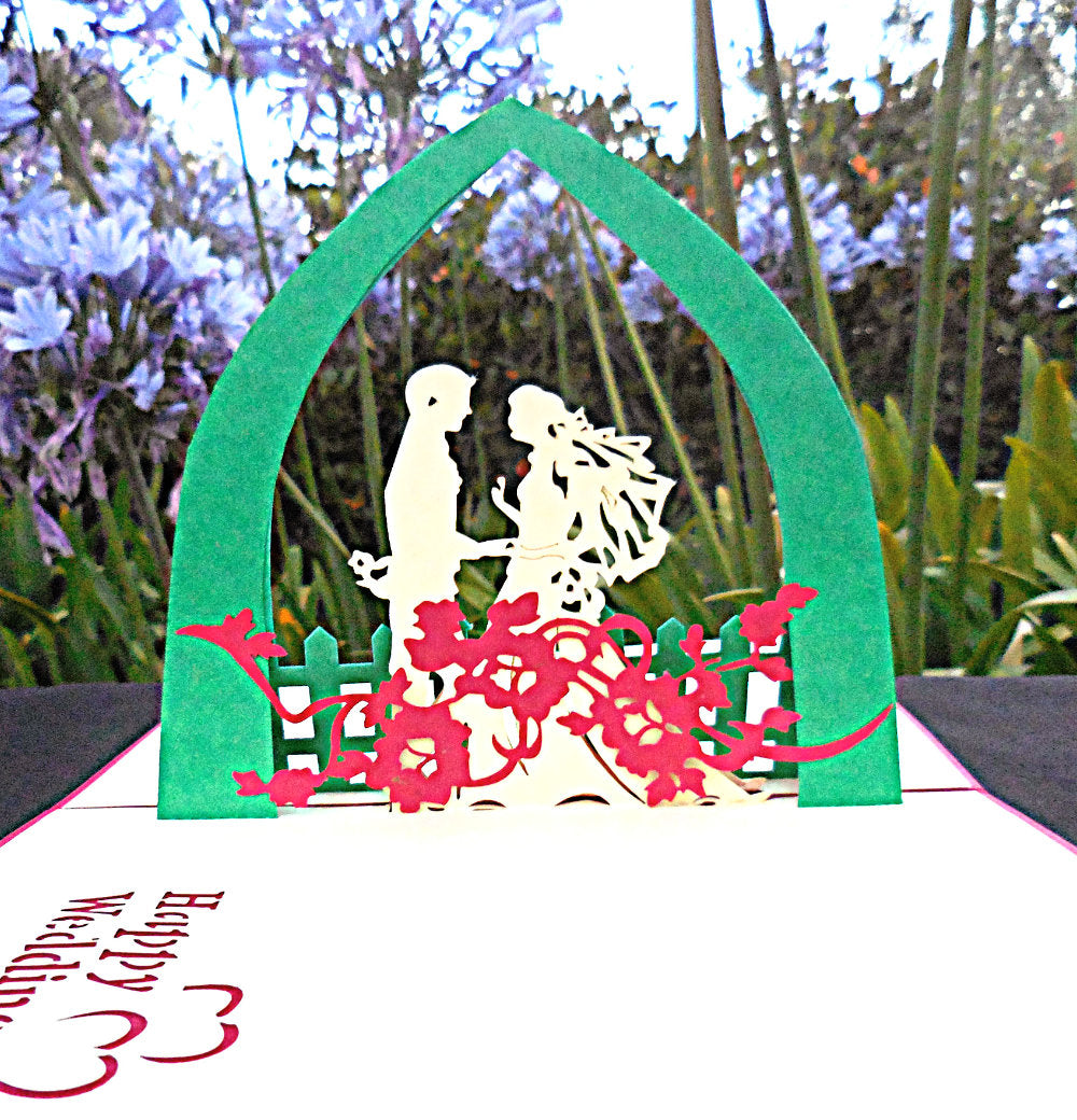 Happy Wedding (Red) 3D Pop Up Greeting Card 1 front