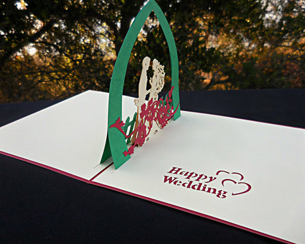 Happy Wedding (Blue) 3D Pop Up Greeting Card 2
