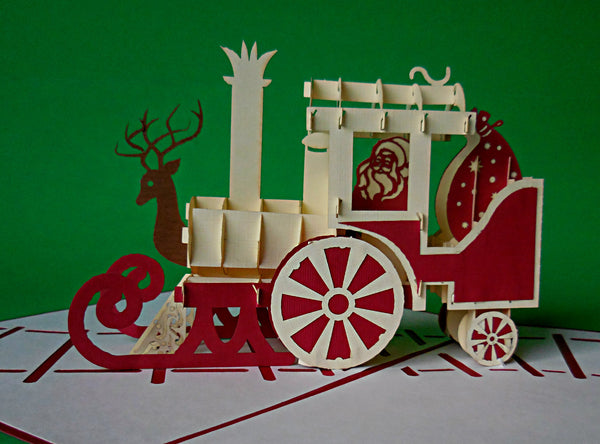 Holiday Train 3D Pop Up Greeting Card 2