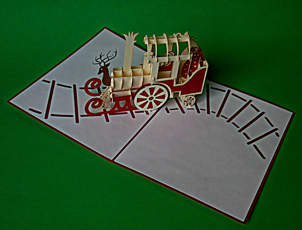 Holiday Train 3D Pop Up Greeting Card 3