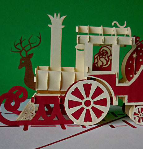 Holiday Train 3D Pop Up Greeting Card 1