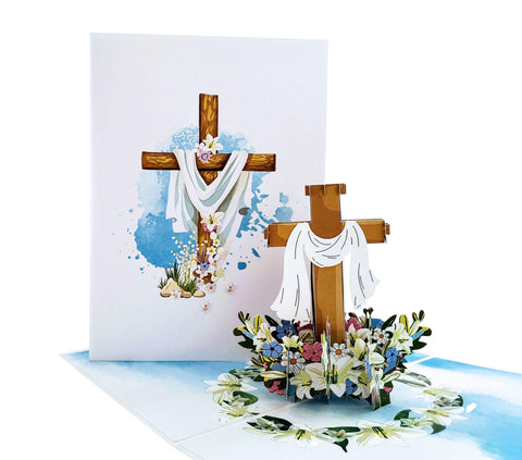 Floral Cross 3D Pop Up Greeting Card