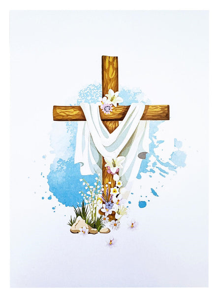 Floral Cross 3D Pop Up Greeting Card - Holy, Easter, Prayers, Faith, Blessing, Salvation, Ordination, Religious, Hope, New Beginning, Gifts