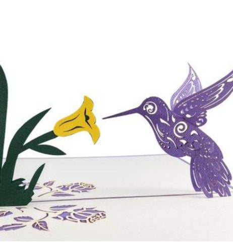 Hummingbird 3D Pop Up Greeting Card 1 front