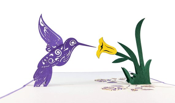 Hummingbird 3D Pop Up Greeting Card 3