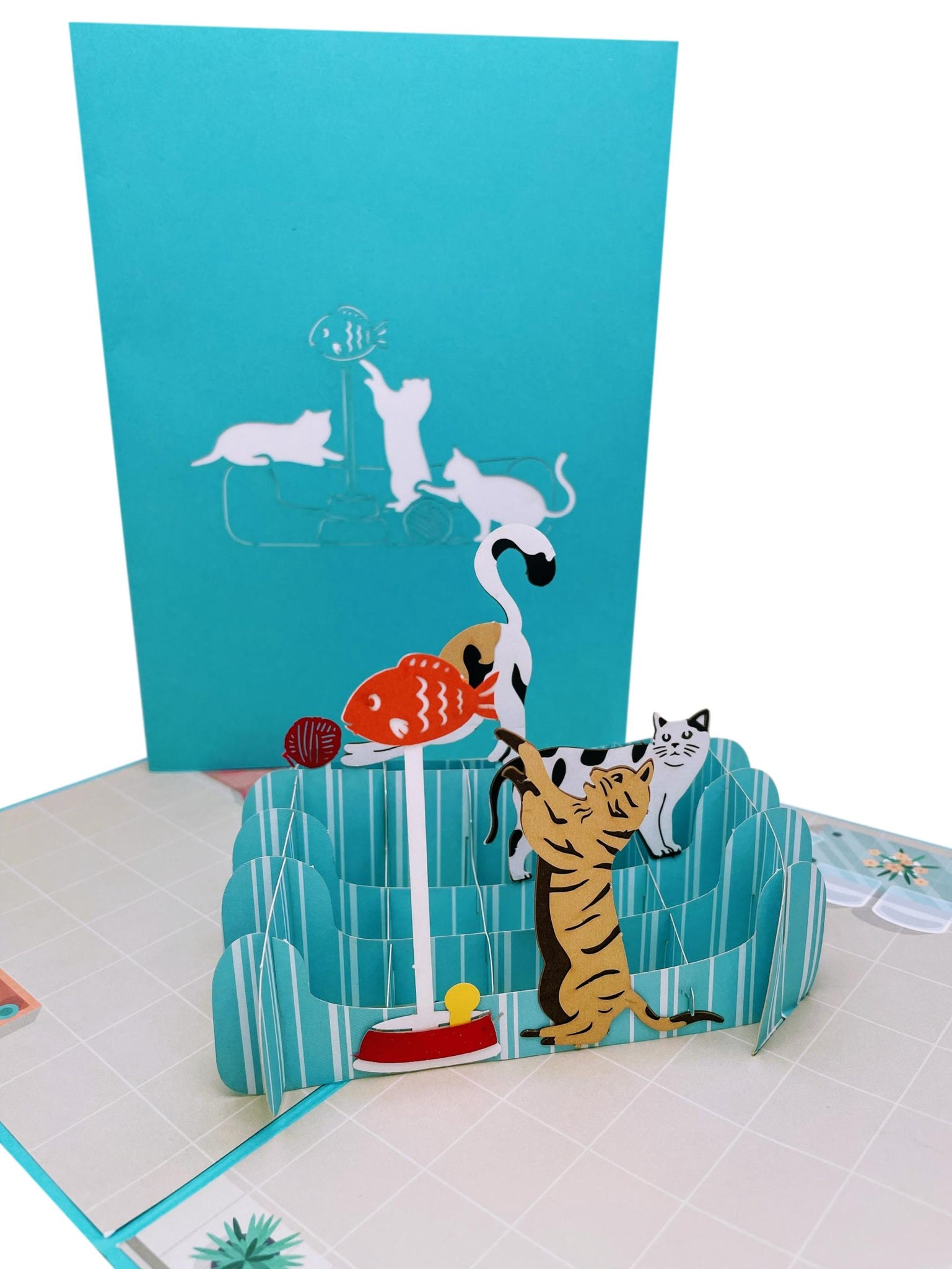 Playful Cats 3D Pop Up Greeting Card - Birthday, Thinking of You, Fun, Thank You, Friendship, Anniversary, Retirement, Cat Gifts, Cool, Love