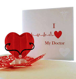 I Heart My Doctor 3D Pop Up Greeting Card 1 front