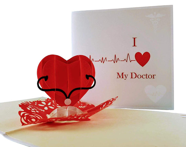 I Heart My Doctor 3D Pop Up Greeting Card 1
