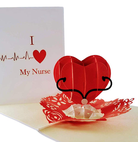 I Heart My Nurse 3D Pop Up Greeting Card 1 front