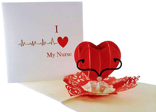 I Heart My Nurse 3D Pop Up Greeting Card 1