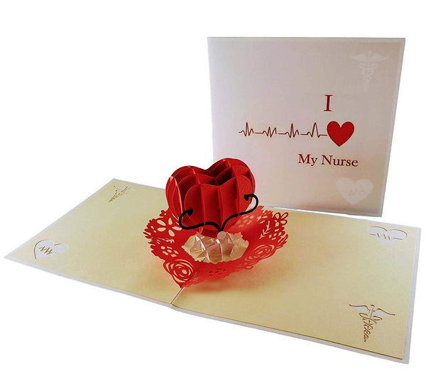 I Heart My Nurse 3D Pop Up Greeting Card 3