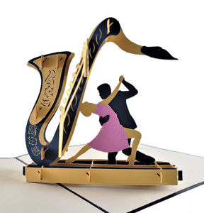 Jazz Sax And Cool Dancers 3D Pop Up Greeting Card 1 front