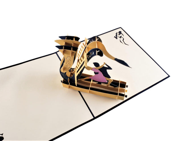 Jazz Sax And Cool Dancers 3D Pop Up Greeting Card 3