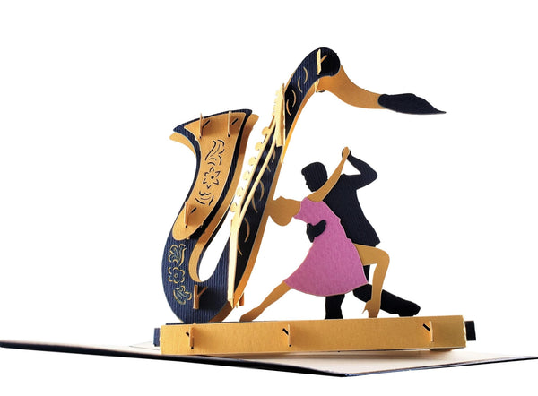 Jazz Sax And Cool Dancers 3D Pop Up Greeting Card 4