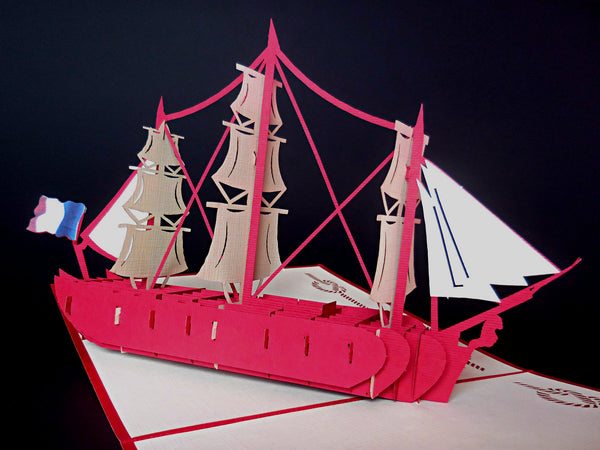 French Ship 3D Pop Up Greeting Card 2