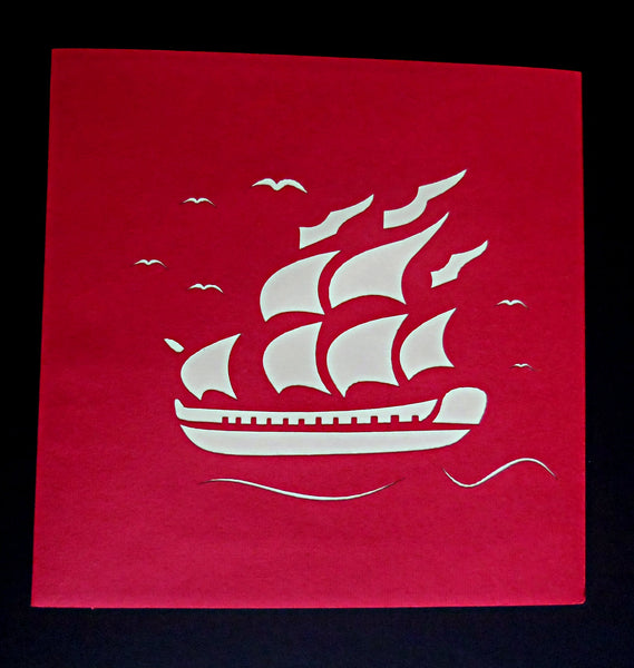 French Ship 3D Pop Up Greeting Card 4