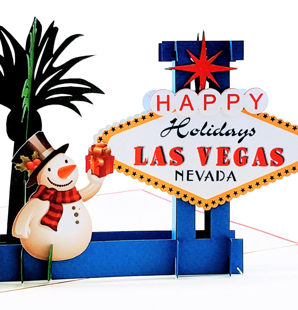 Las Vegas Christmas 3D Pop Up Greeting Card 1 front